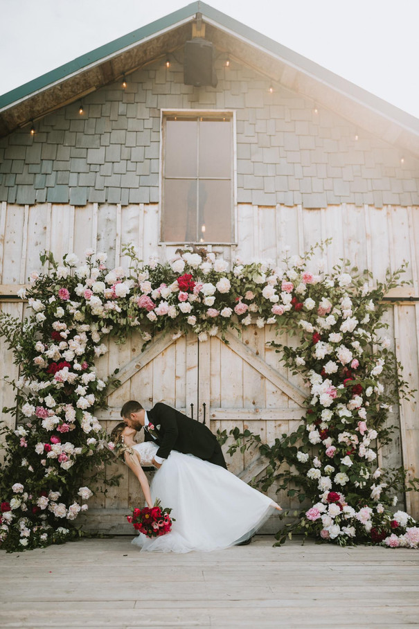 Bride and Groom, Rustic Barn, Intirgue Designs Peony Arch