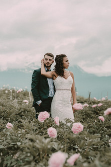 Bride and Groom in Peony Field