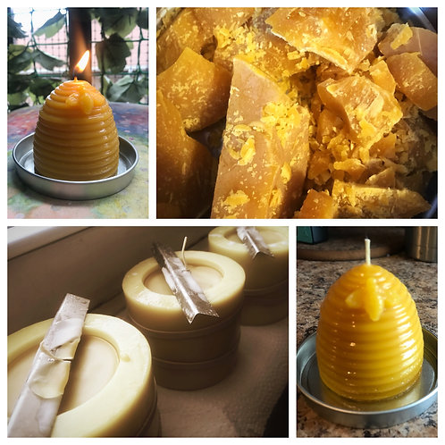 Beeswax Skep Beehive Candle