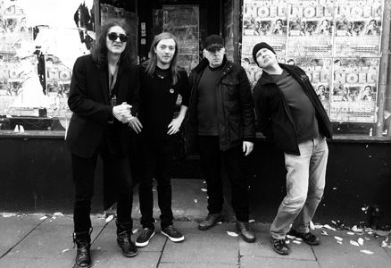 Hawklords B&W L-R Jerry Richards - Tom Ashurst - Dead Fred - Dave Pearce 1-2020