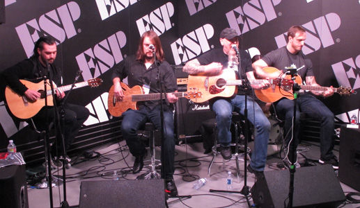 Metalliville, Review - Jason Charles Miller, NAMM, Anaheim Convention Centre, Anaheim, California, Sunday, January, 21, 2017, Glenn Milligan, ESP, Booth, Sunday, Takamine, Acoustic, Country, Southern Rock, Live, Gig, Concert, Gary Potter Jr, John Huldt, Zack Hall, Neil Gaffney, Bass, Drums, Percussion, Vocals, USA, United States Of America, North America