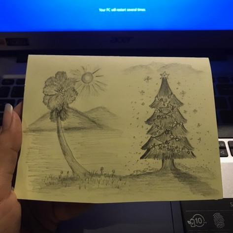Ein Bild mit Symbolkraft - eine kambodschanische Palme und ein europäischer Weihnachtsbaum
