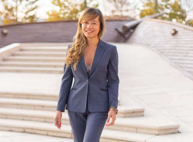 Blue women suit from blended wool