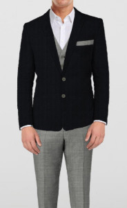 Black Mix Suit - 3 Piece - by The Tailor Network