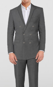 Elegant Grey Stripes - 2 piece double breasted suit - Sportive Brown - 2 piece - By The Tailor Network