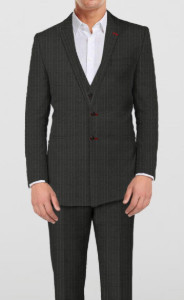 Elegant Grey Suit-  with red elements - 3 piece - By The Tailor Network