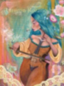 Cello girl, violi girl, popsurreal painting, faerie art, fairy art, fairy art on etsy