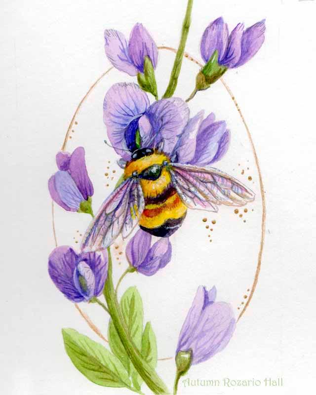 Bumblebee and purple indigo, painting, bee painting