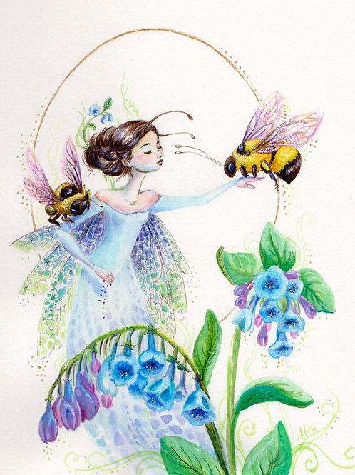 Among the Bluebells, prints and original fairy painting