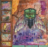 Cicada art mixed media art folklore art  by autumn rozario hall