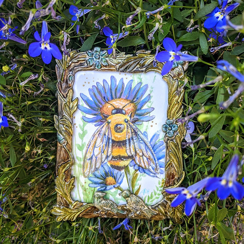Bumblebee and Sky Blue Asters- Original and Prints