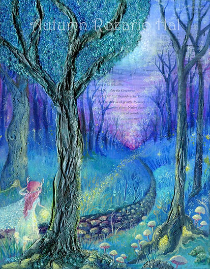 Promise of Stardust, enchanted forest, painting, fairy tale art, faerie, fairy art
