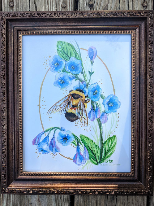 Bumblebee and Bluebells print