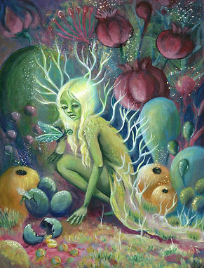faerie paining of green woman and eggs, new contempoaray art, fairy art, popsurreal