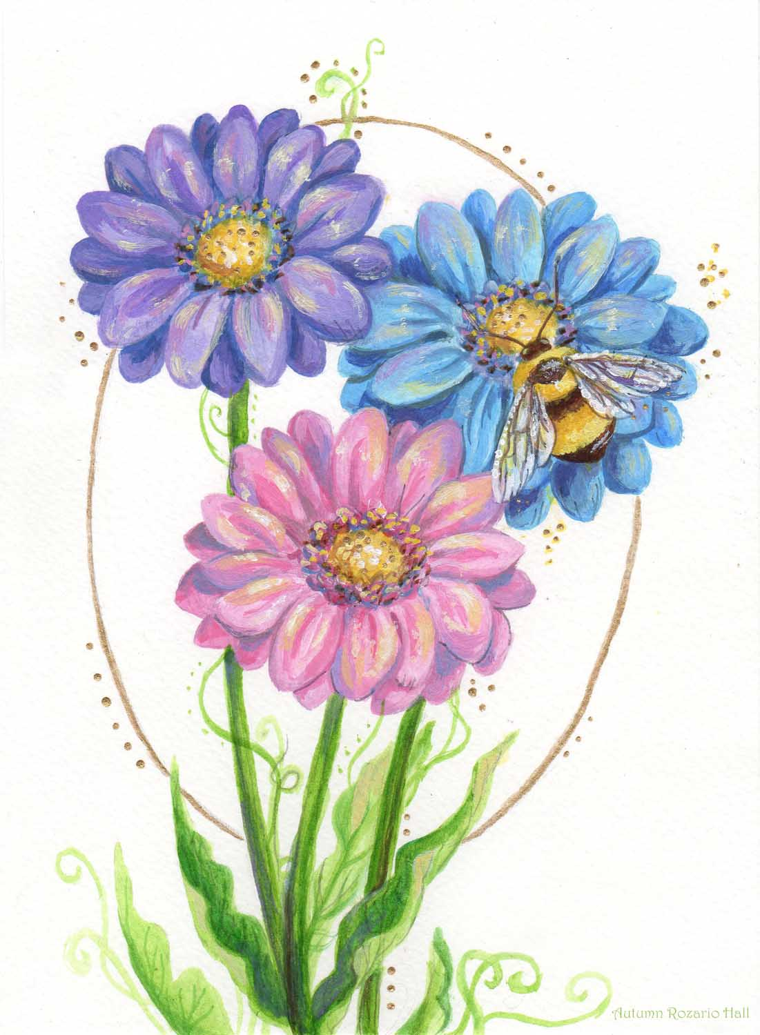 Bumblebee and Gerbera Daisies
