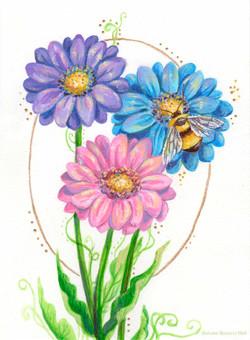 Bumblebee and Gerbera Daisies