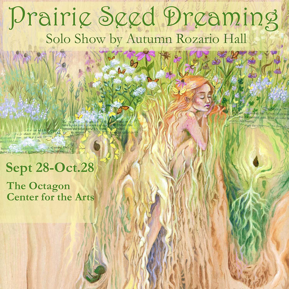 Prairie painting of girl in Roots