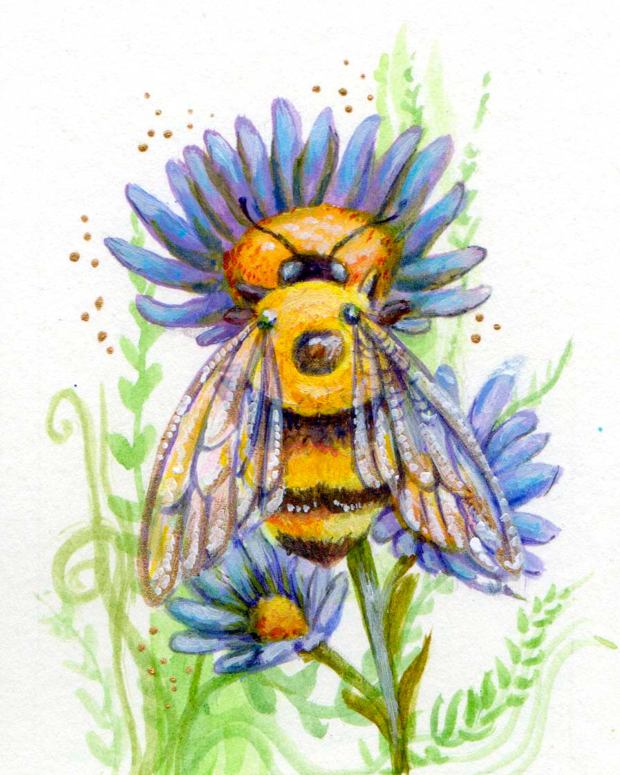 Bumblebee and asters painting, bee painting