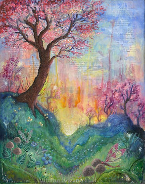 The Dreaming Tree, fairy tale art, whimsical tree, sunrise, enchanted forest