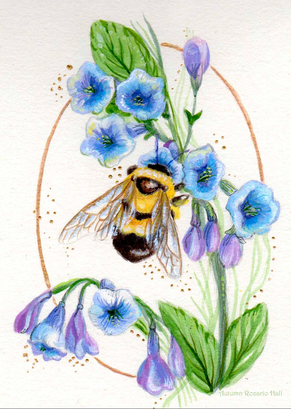 Bluebells and Bumblebee, watercolor, bee painting