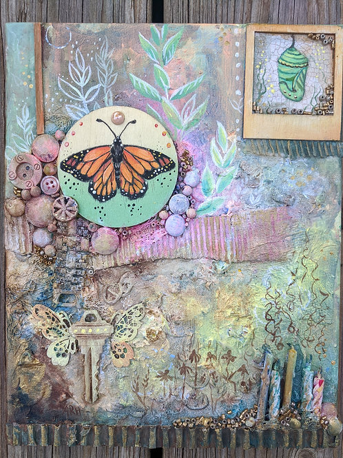 Monarch mixed media painting