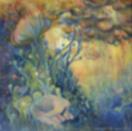 Seeking Sleep painting, popsurreal,new contemporary art, faeri, mytic art