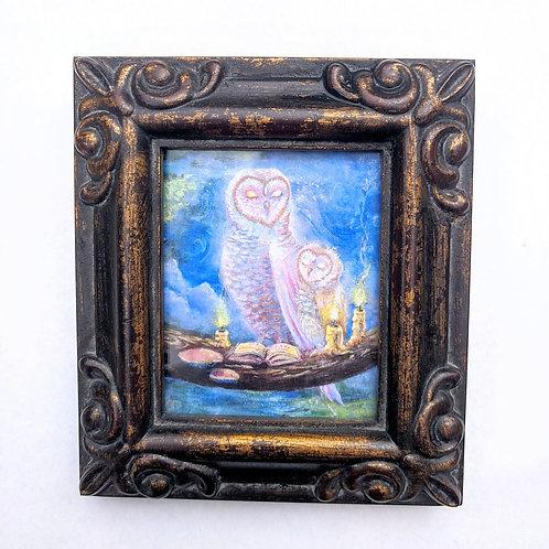 Moon Owls framed mini print