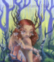 fairy faerie art antlered girl art pop surreal art