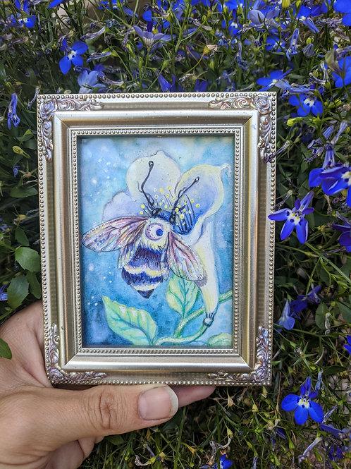 Moon Blossom Bee - mini painting