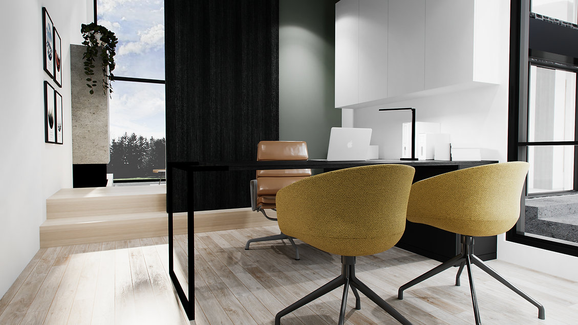 les-stéphanies-chaleureux-minimaliste-bois-chêne-blanc-bureau-noir-rangement-laque-filière-chaise-porte-coulissante-mur-accent-vert