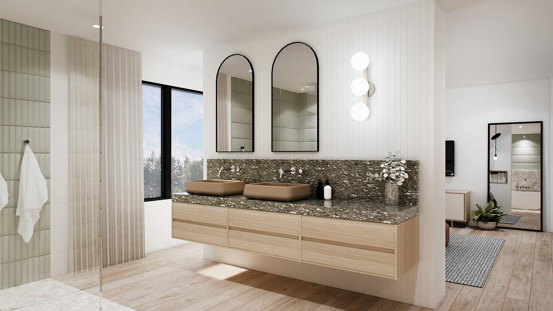 les-stéphanies-chaleureux-minimaliste-bois-chêne-blanc-salle-de-bain-douche-verre-panneau-naturel-vanité-vert-tuiles-céramique-béton-lavabo-miroir-noir-chrome-plomberie