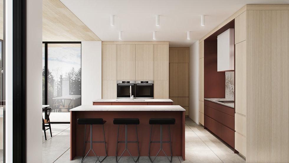 les-stéphanies-chaleureux-minimaliste-bois-chêne-blanc-cuisine-terracotta-quartz-béton-ambré-noir-tabouret-robinet-four-hotte-dissimulée-ilot-deux-plafond-bois