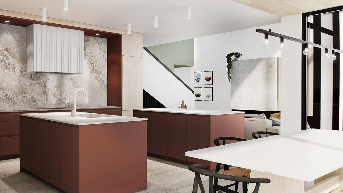 les-stéphanies-chaleureux-minimaliste-bois-chêne-blanc-cuisine-terracotta-quartz-béton-ambré-noir-tabouret-robinet-four-hotte-dissimulée-ilot-deux-plafond-bois-escalier-ceppo-di-gre-mur-accent-vert-salon-foyer-cadres-illustration