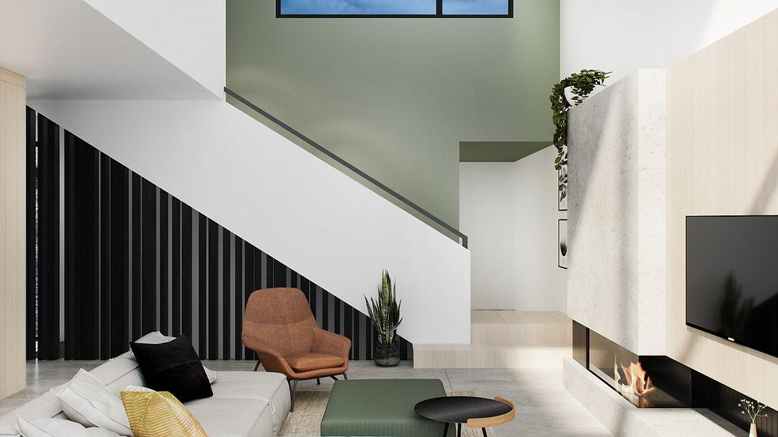les-stéphanies-chaleureux-minimaliste-bois-chêne-blanc-salon-foyer-téléviseur-lumineux-sectionnel-moderne-affiches-cadres-illustration-coussin-pouf-plante-fauteuil-cuir-escalier-noir-vert-mur-accent