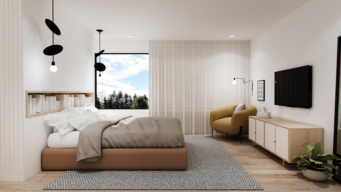 les-stéphanies-chaleureux-minimaliste-bois-chêne-blanc-chambre-principale-naturelle-doux-douce-luminaire-noir-fauteuil-accent-jaune-plante-rideaux