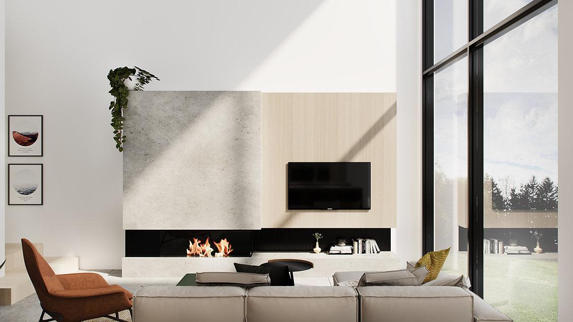 les-stéphanies-chaleureux-minimaliste-bois-chêne-blanc-salon-foyer-téléviseur-lumineux-sectionnel-moderne-affiches-cadres-illustration-coussin-pouf-plante-fauteuil-cuir
