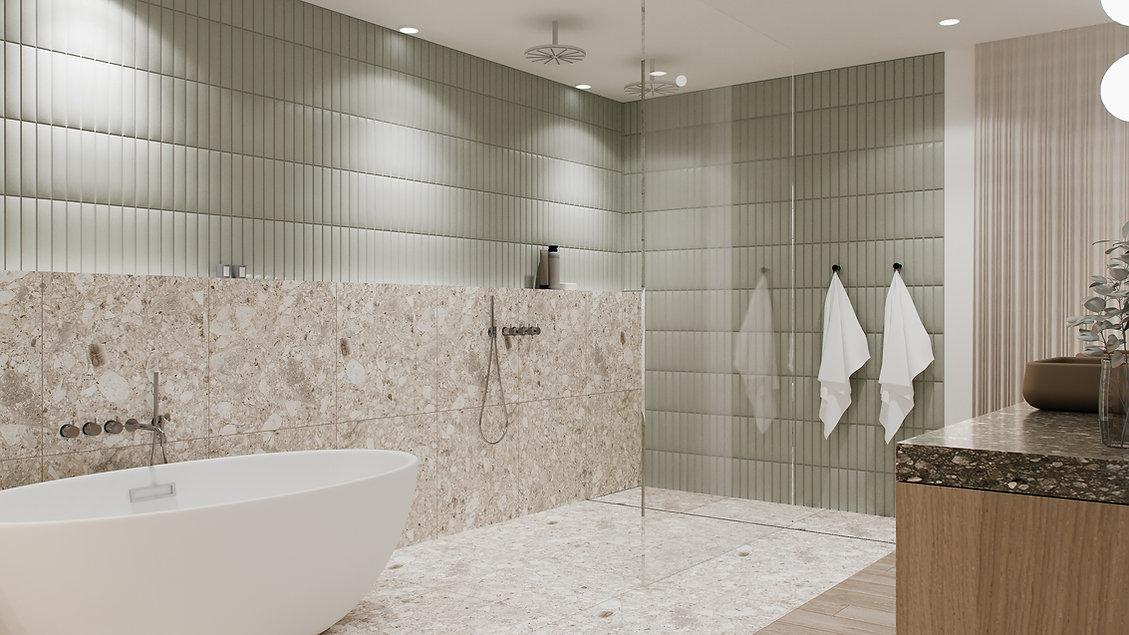 les-stéphanies-chaleureux-minimaliste-bois-chêne-blanc-salle-de-bain-baignoire-douche-verre-panneau-naturel-vanité-vert-tuiles-céramique