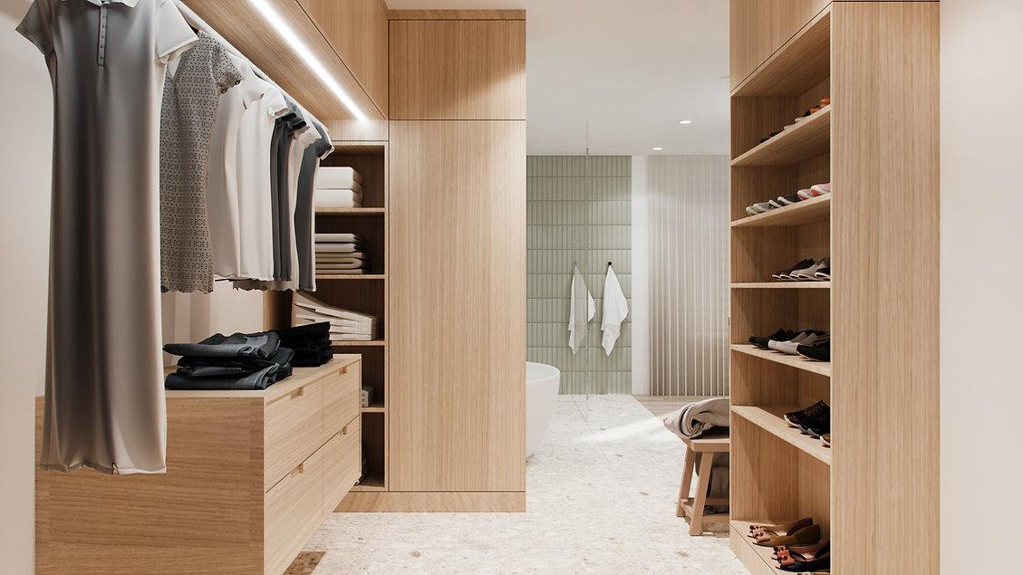 les-stéphanies-chaleureux-minimaliste-bois-chêne-blanc-salle-de-bain-baignoire-naturel-vert-tuiles-céramique-rangement-walk-in-dressing-closet