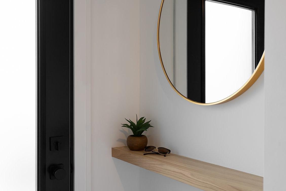 les-stéphanies-entrée-tablette-bois-miroir-vide-poche-rangement-noir-or-laiton-chêne-blanc