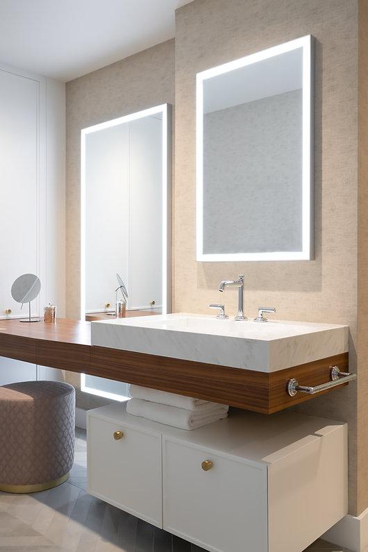 les-stéphanies-blanc-salle-de-bain-rangement-miroir-lumineux-laiton-contemporain-moderne-bois-chaleureux-noyer-industriel-chic-chevron-gris-tuile-kallista-robinet-pouf-blush