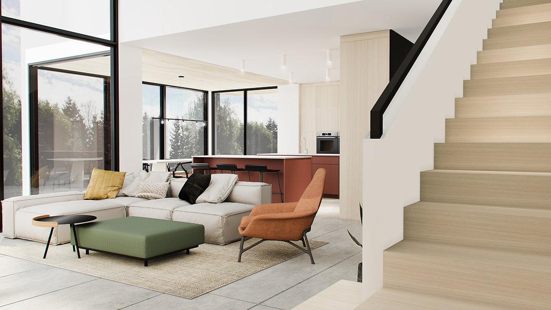 les-stéphanies-chaleureux-minimaliste-bois-chêne-blanc-salon-lumineux-sectionnel-moderne-coussin-pouf-plante-fauteuil-cuir-cuisine-moderne-plafond-bois-escalier-ambre