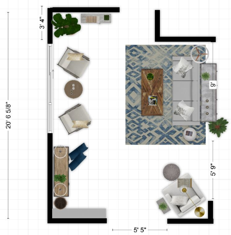 Here's an example of a 2D floorplan