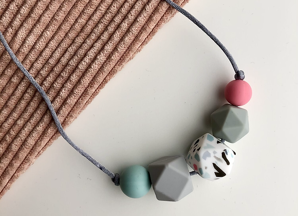 Terrazzo 5 bead Teething Necklace - grey cord and clasp