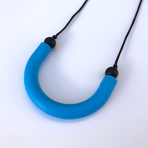 Sky blue U shaped teething pendant