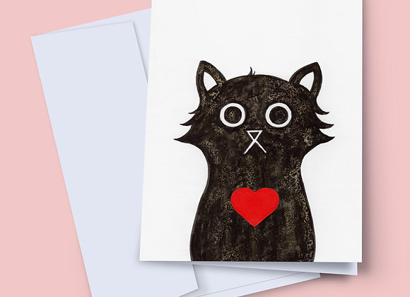 Love Cat greeting card with handwritten message
