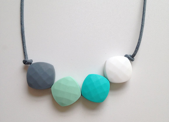 Grey, Mint Green, Turquoise and White quadrate teething bead necklace