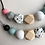 Thumbnail: Terrazzo 7 bead Teething Necklace - grey cord and clasp