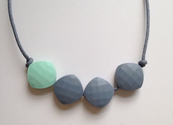 Mint Green and Grey quadrate teething bead necklace