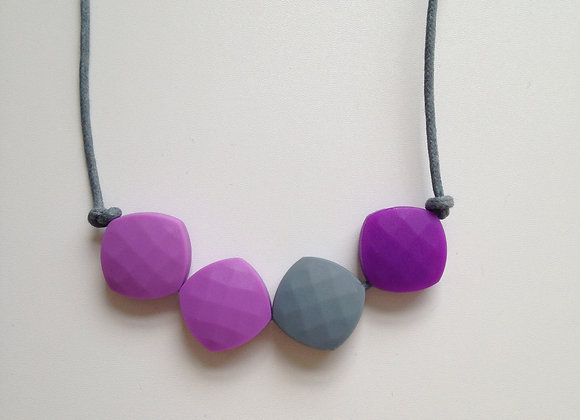 Lilac, Grey and Purple quadrate teething bead necklace