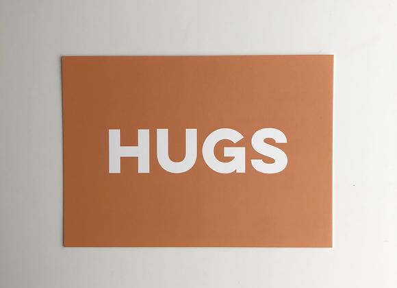 HUGS greeting postcard with handwritten message